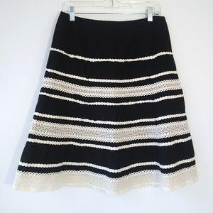 Talbots Navy A-Line Skirt Crochet Lace Trim Sz 10